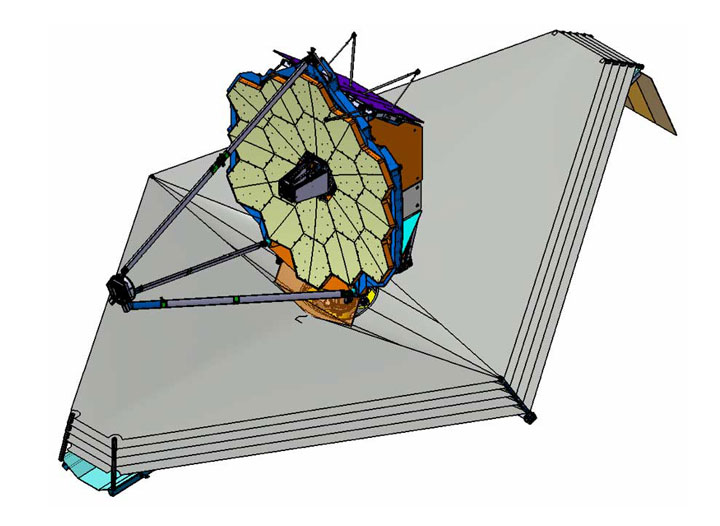 NIRSpec CAD drawing | CAD drawing of the James Webb Space ... |James Webb Telescope Drawing