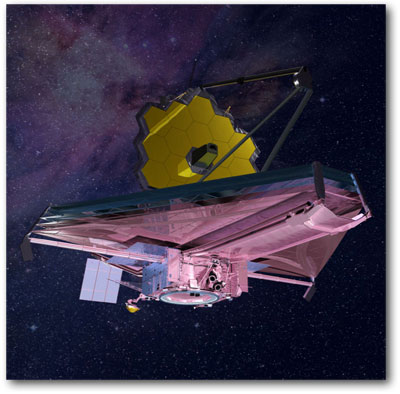 Artist's concept of Webb telescope operating in space, NASA illustration jwst_update.jpg